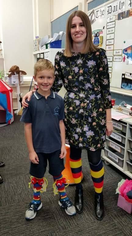 2017 #SockItToME Hendon  Aidan and Teacher Ms Quinn 2